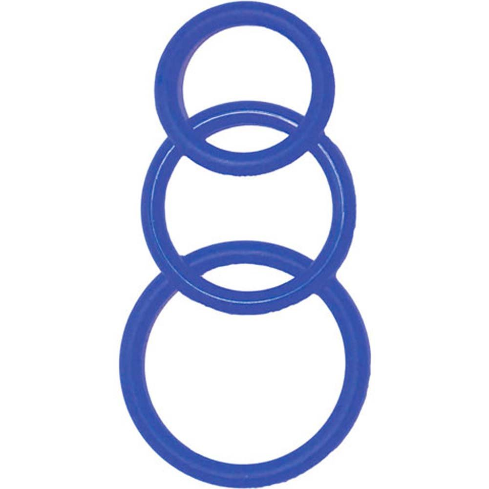 Super Silicone Waterproof Cockrings Kit Blue - View #2