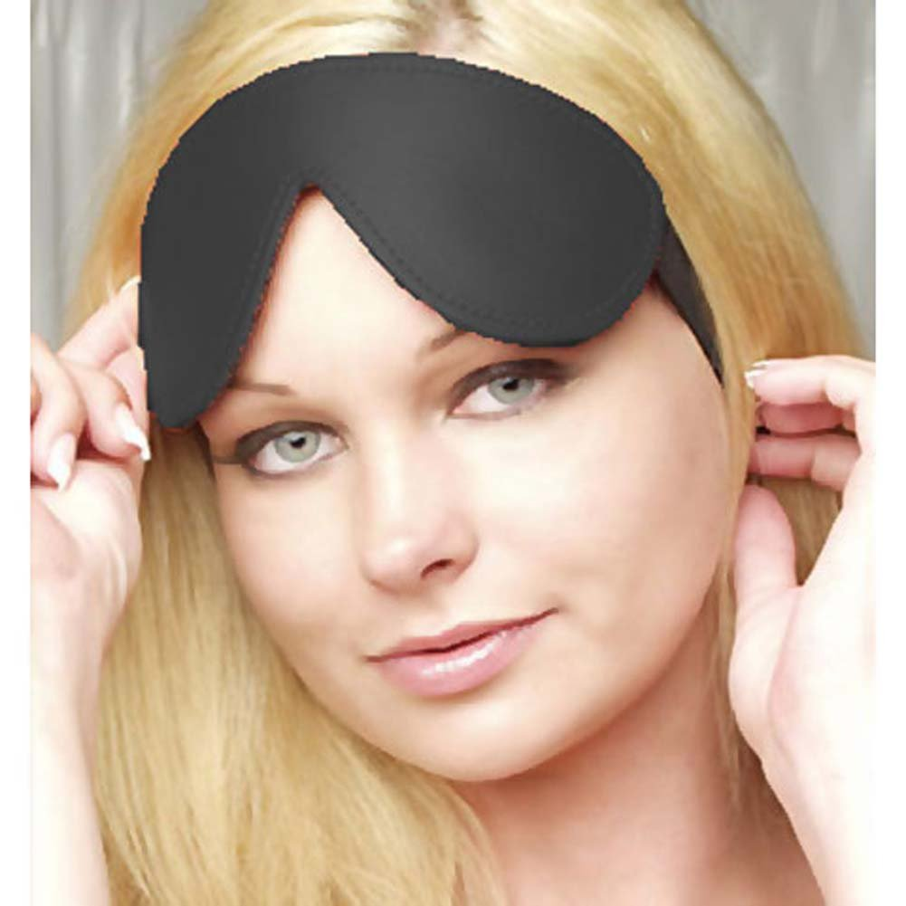 Padded Leather Blindfold Black - View #2