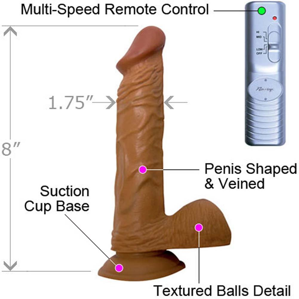 "RealSkin Latin American Whoppers Vibrating Dong 8"" With Balls - View #1"