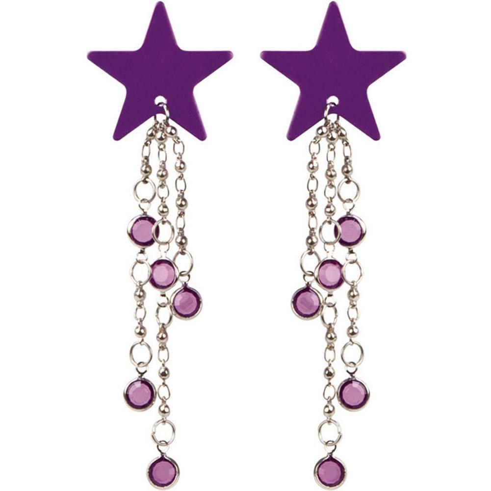 Body Charms Purple Stars Nipple Jewelry Pasties Purple - View #2