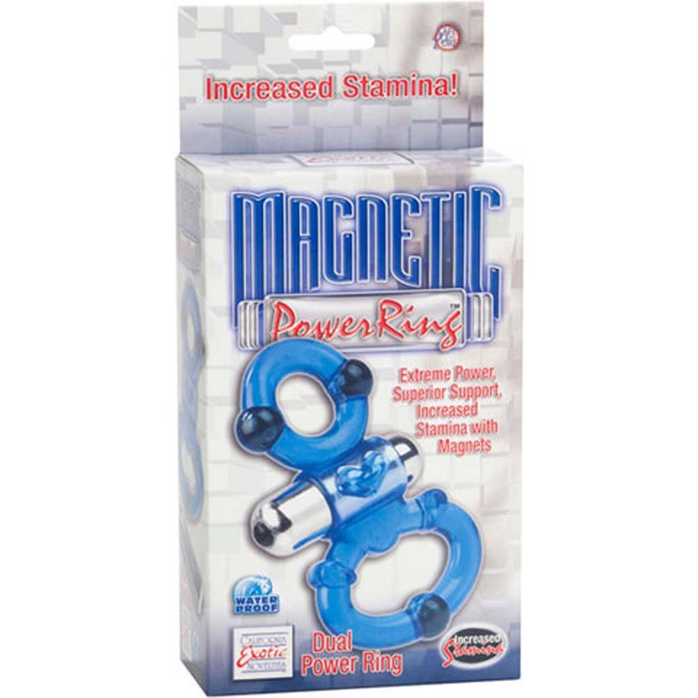 Magnetic Dual Power Waterproof Vibrating Ring Blue - View #4