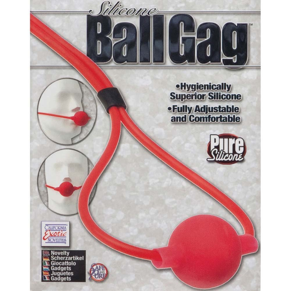"California Exotics Silicone Ball Gag 1.75"" Red - View #3"
