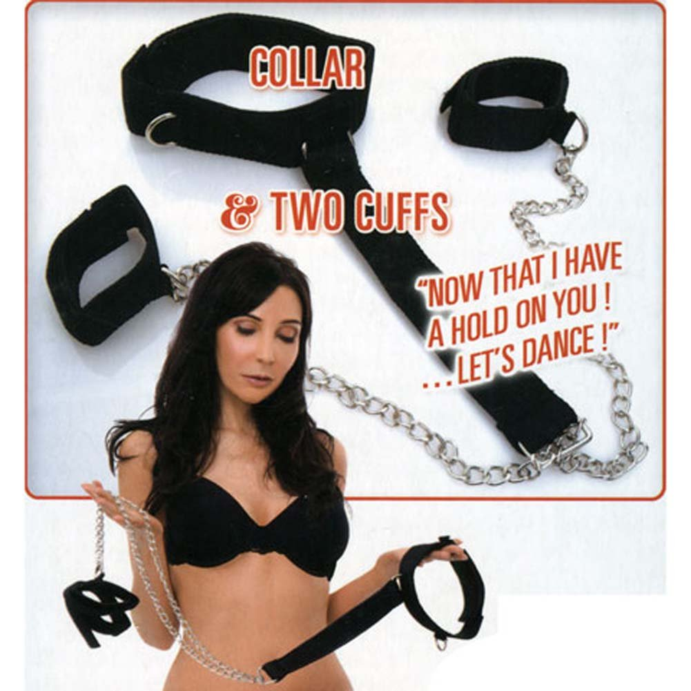 Dominant Submissive Collection 2 Cuffs and Collar Set Black - View #1