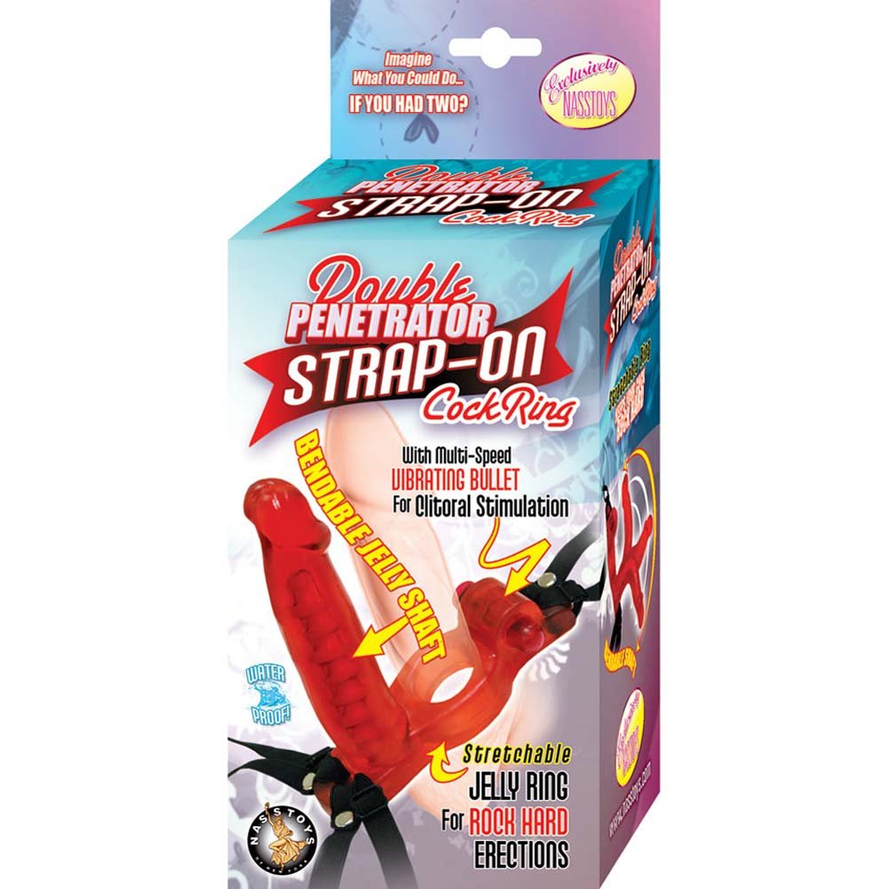 "Nasstoys Double Penetrator Cockring Strap-On 5.75"" Red - View #4"
