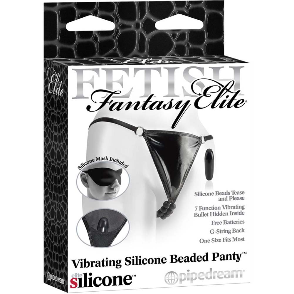 Fetish Fantasy Elite Vibrating Silicone Beaded Panty Black - View #1