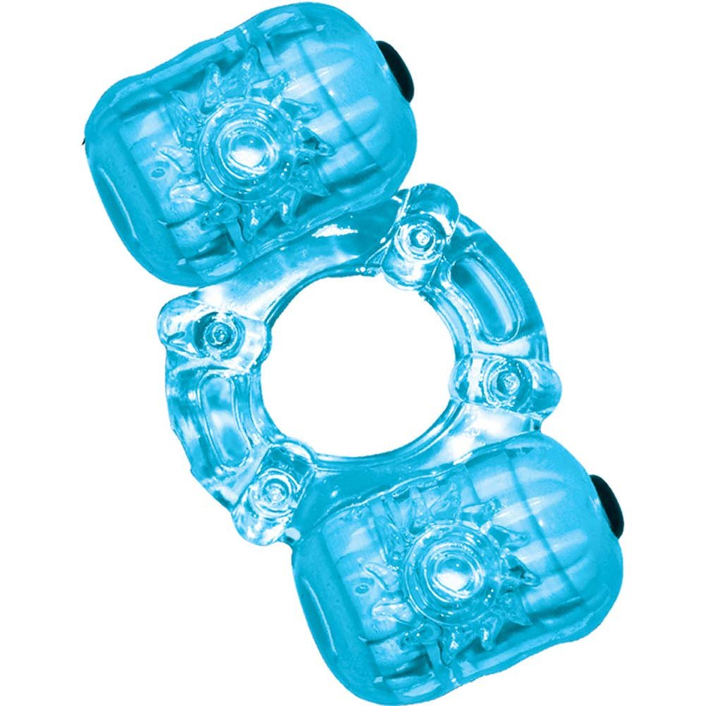 Hero Double Pleaser Teaser Waterproof Jelly Cockring Blue - View #2