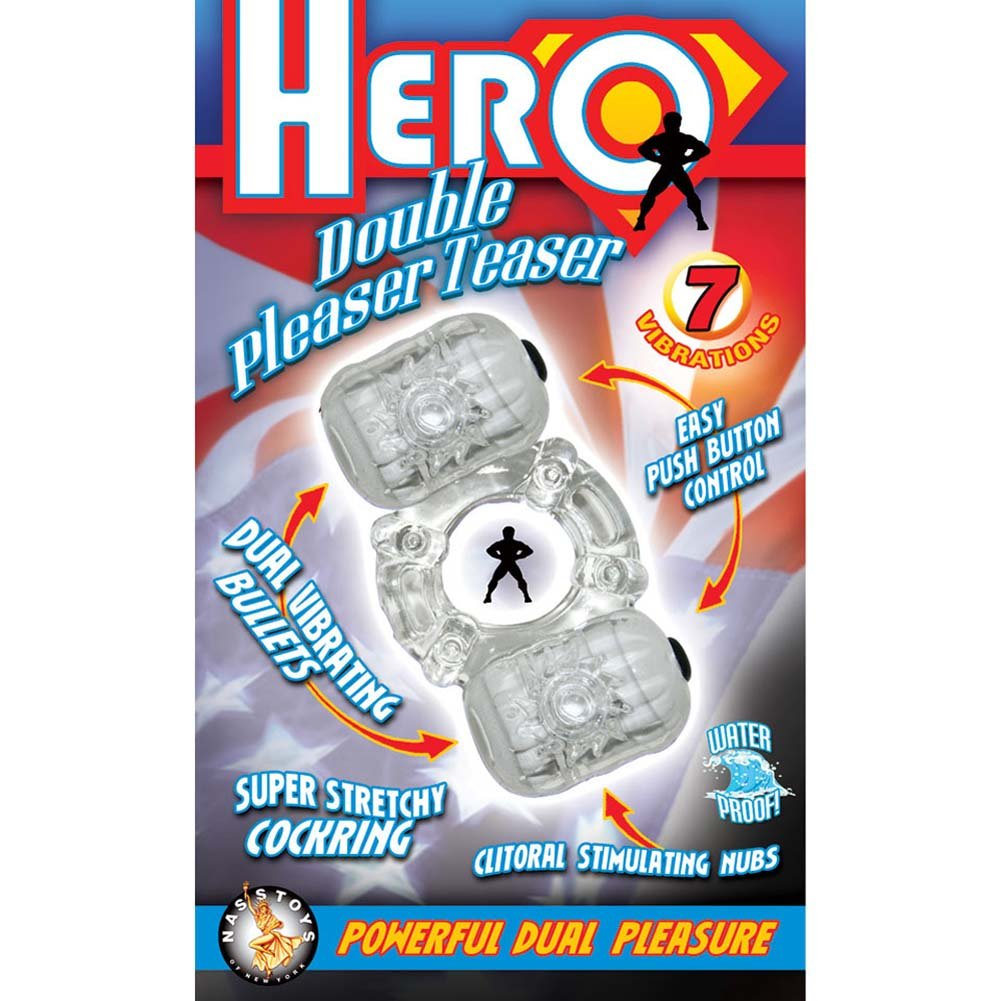 Hero Double Pleaser Teaser Waterproof Jelly Cockring Clear - View #3