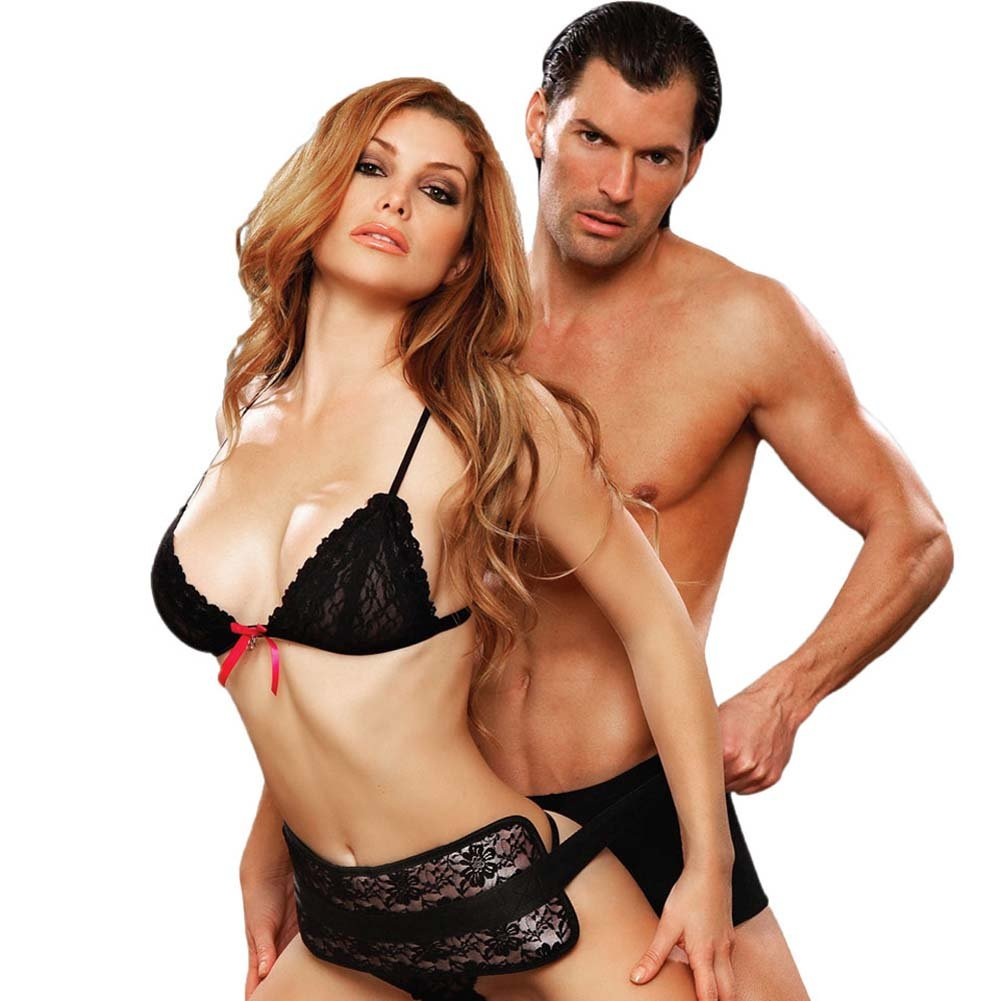 Lux Fetish Lace Doggie Style Support Black - View #1