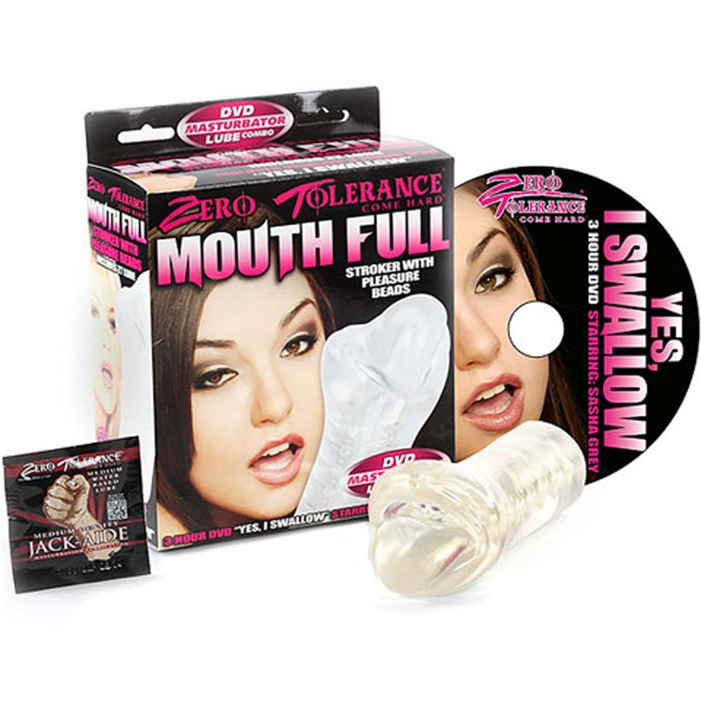 "Mouth Full Stroker with Pleasure Beads 6"" Clear and DVD - View #2"