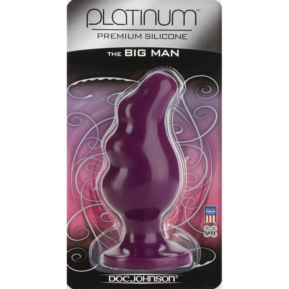 "Platinum Silicone Big Man Butt Plug 5.75"" Purple - View #1"