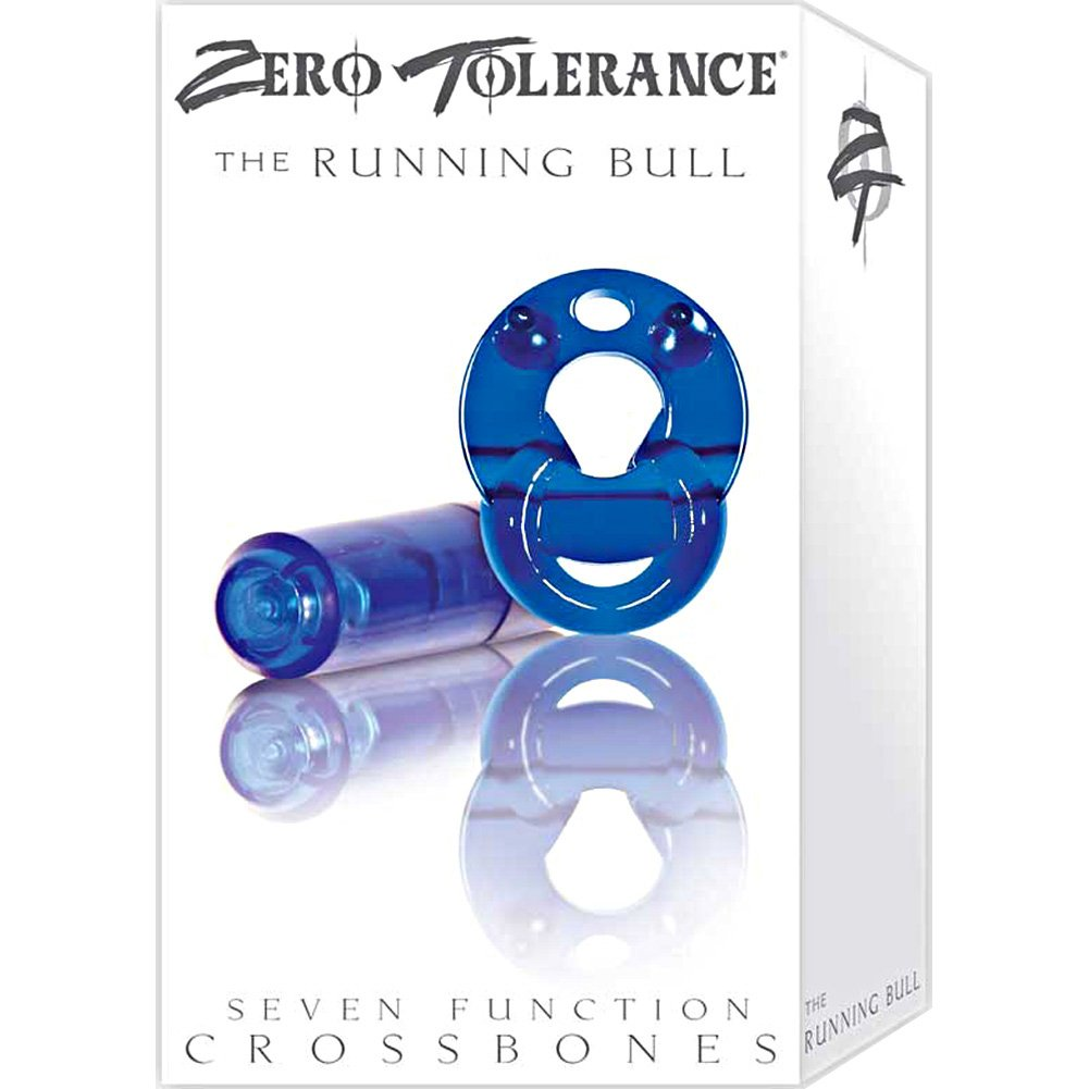 Crossbones Running Bull Single Bullet Cockring Blue - View #4