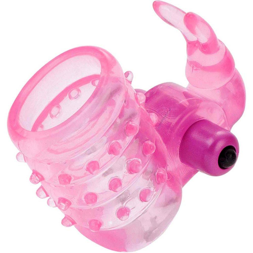 Basic Essentials Stretchy Vibrating Bunny Enhancer Pink - View #2