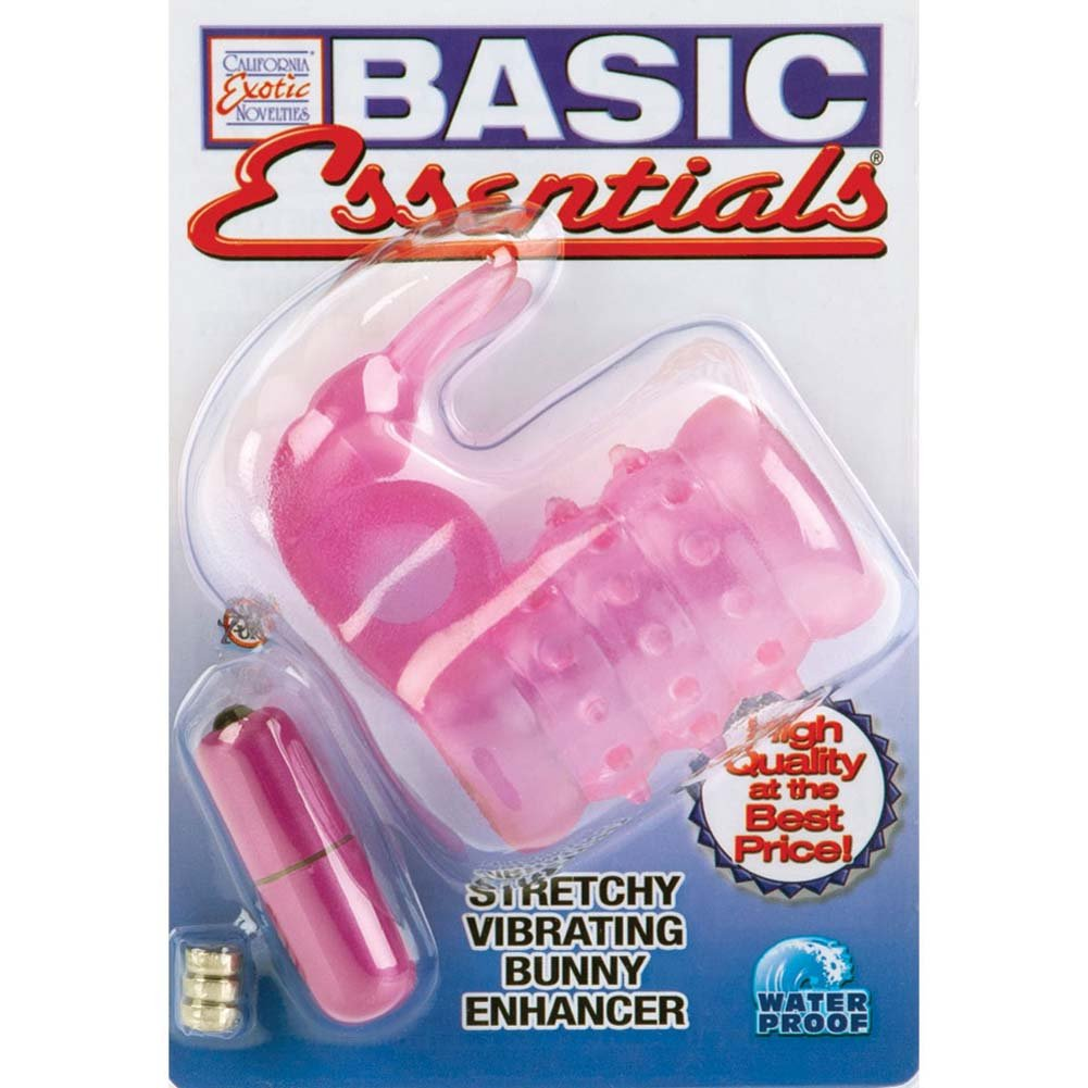 Basic Essentials Stretchy Vibrating Bunny Enhancer Pink - View #4