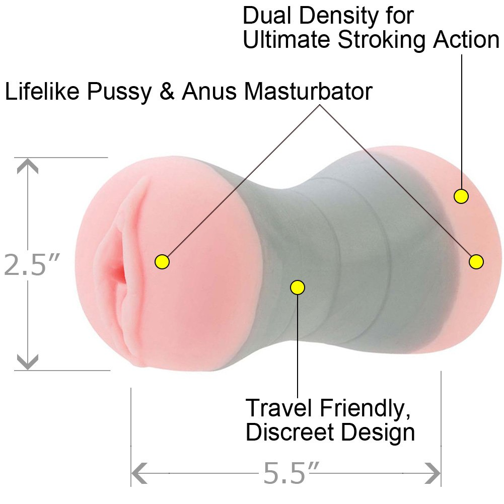 "Travel Gripper Pussy and Ass Masturbator 5.5"" Pink - View #1"