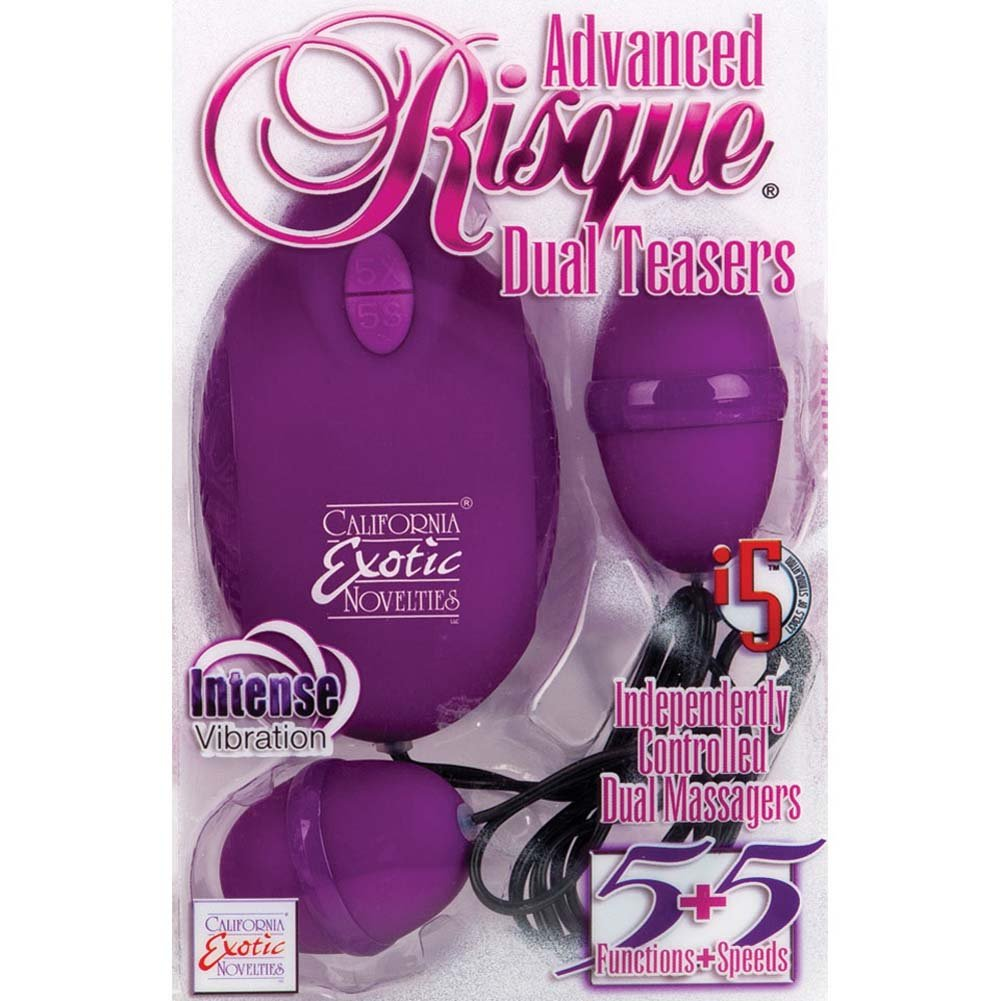 "Advanced Risque Dual Teasers Vibrating Eggs 2.25"" Purple - View #3"