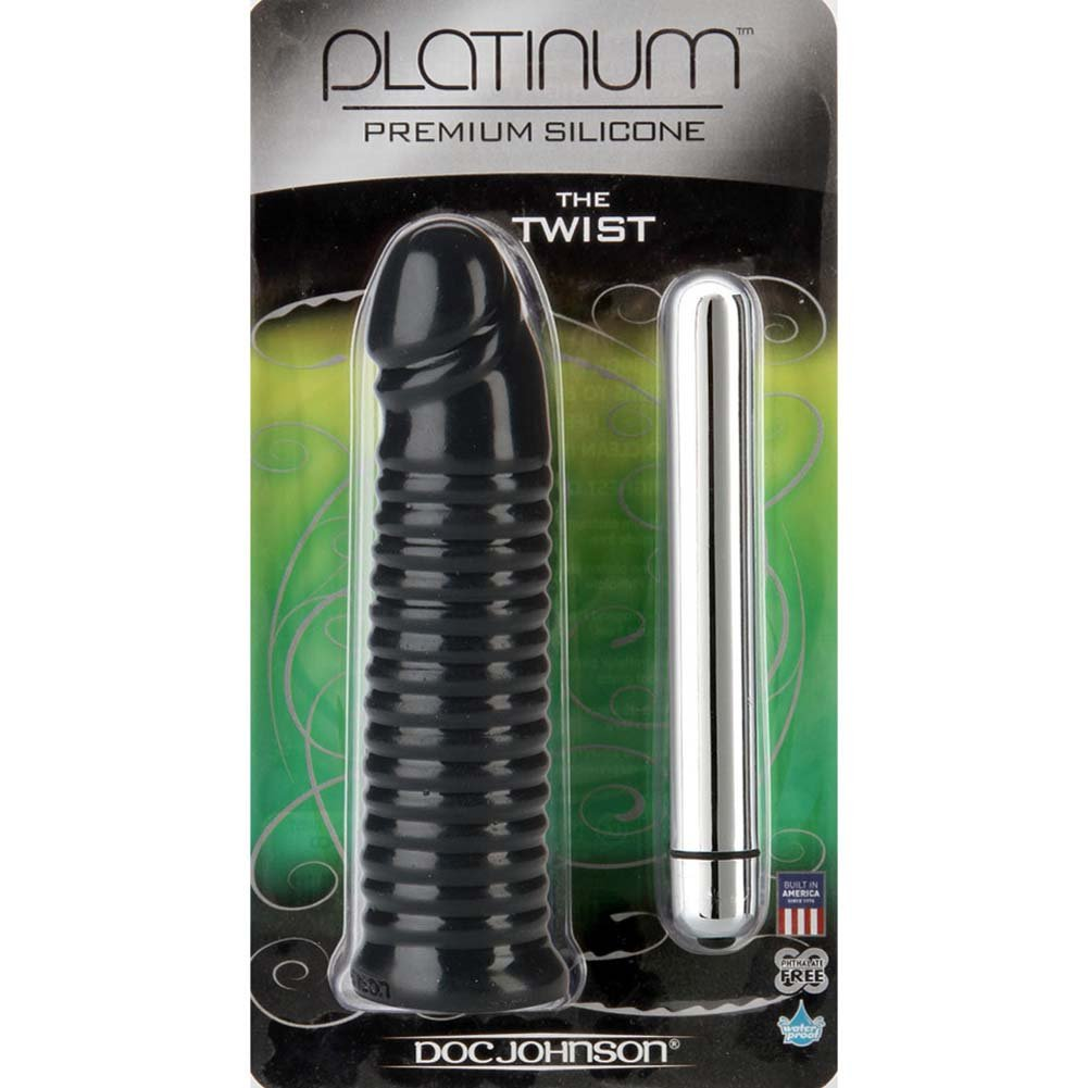 "Doc Johnson Platinum Premium Silicone Twist Vibrator 6.5"" Black - View #1"