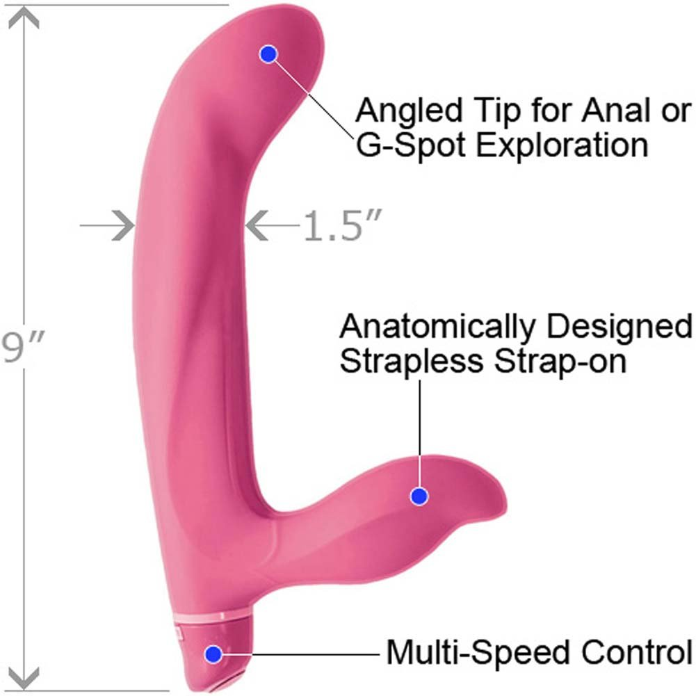 "Vibrating Strapless Silicone Strap-On G Dildo 9"" Sensual Pink - View #1"