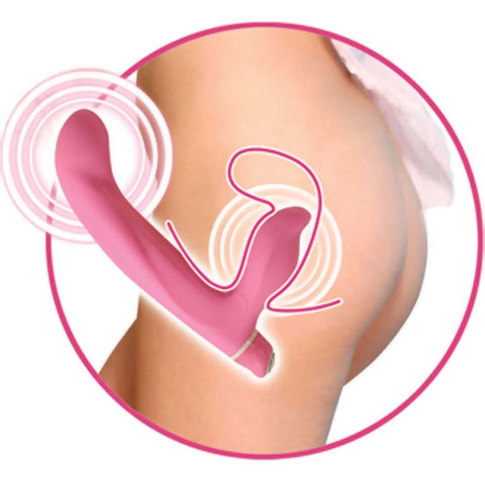 "Vibrating Strapless Silicone Strap-On G Dildo 9"" Sensual Pink - View #3"