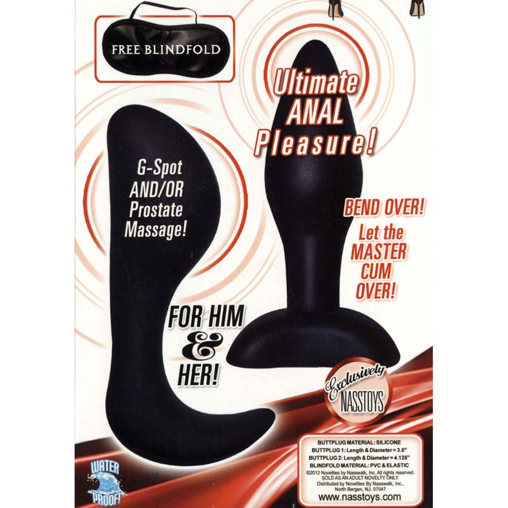 Dominant Submissive Collection Silicone Butt Plugs Black - View #1