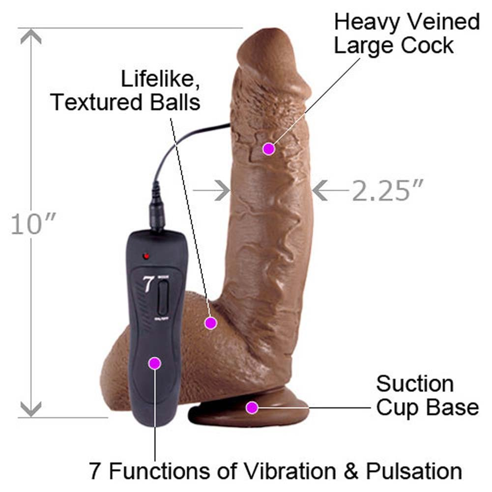 "Shane Diesel Big Realistic Vibrating Dong 10"" Ebony - View #1"