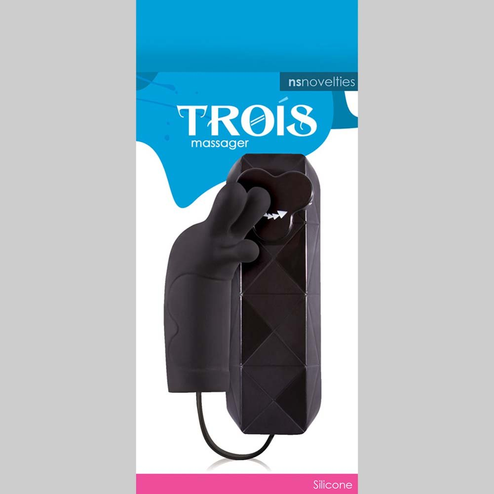 "Trois Silicone Vibrating Massager 3"" Black - View #1"