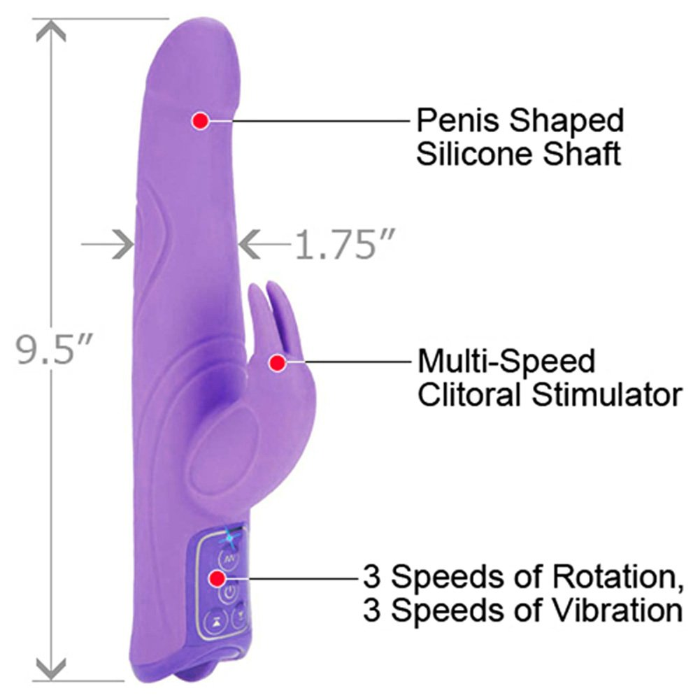 "California Exotics Triple Motor Silicone Jack Rabbit Female Vibrator 9.5"" Sexy Purple - View #1"