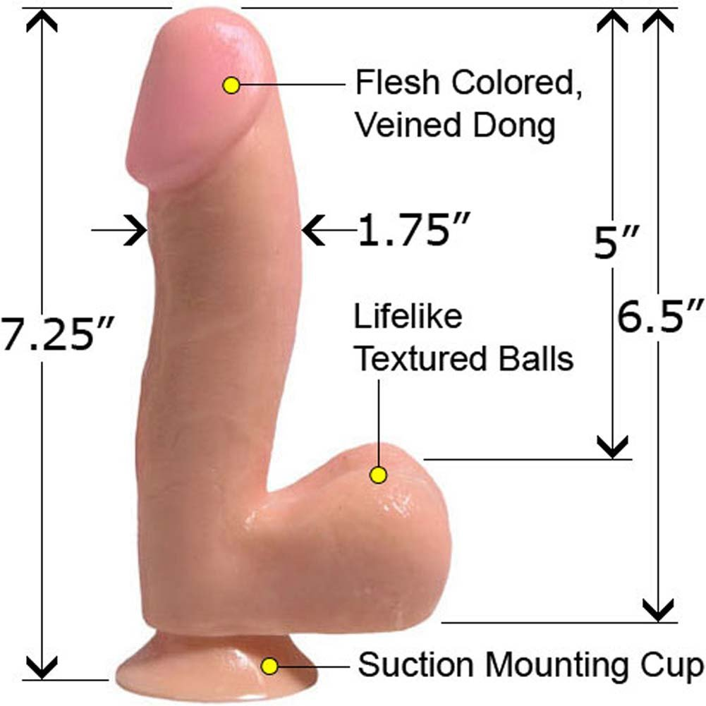 "Curved Ballsy Dong with Suction Cup 6.5"" Natural RbDV - View #1"