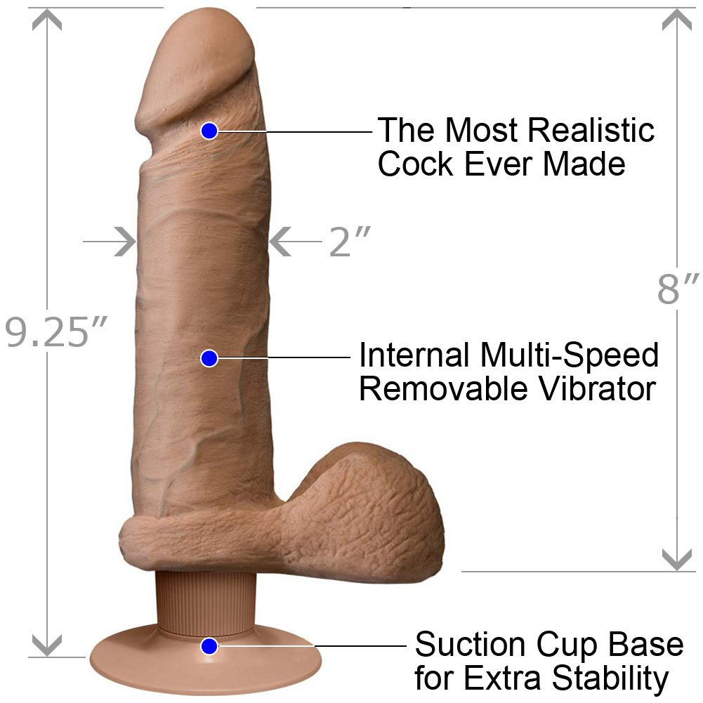 Vibrating Realistic Cock UR3 with Balls 8 Iinch Brown - View #1