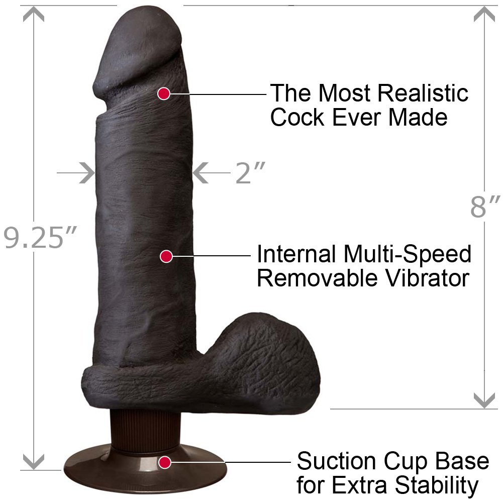 Vibrating Realistic Cock UltraSKYN with Balls 8 Iinch Ebony - View #1