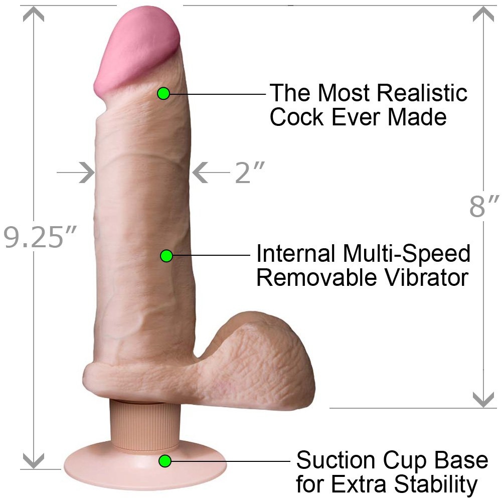 Vibrating Realistic Cock UltraSKYN with Balls 8 Iinch Natural Flesh - View #1