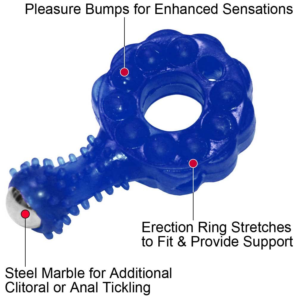 Crossbones Mighty Marble Single Bullet Vibrating Cockring for Lovers Blue - View #1