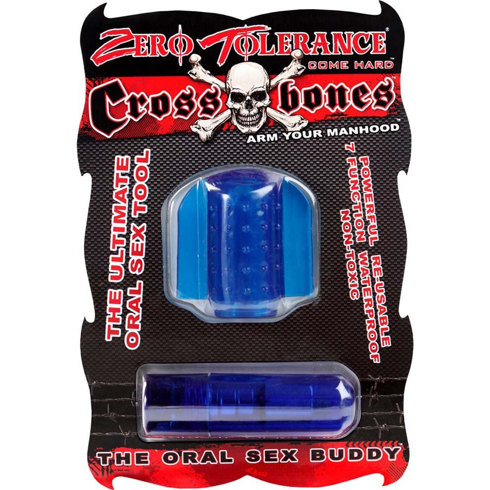 Crossbones Oral Sex Buddy Waterproof Intimate Stimulator Blue - View #1