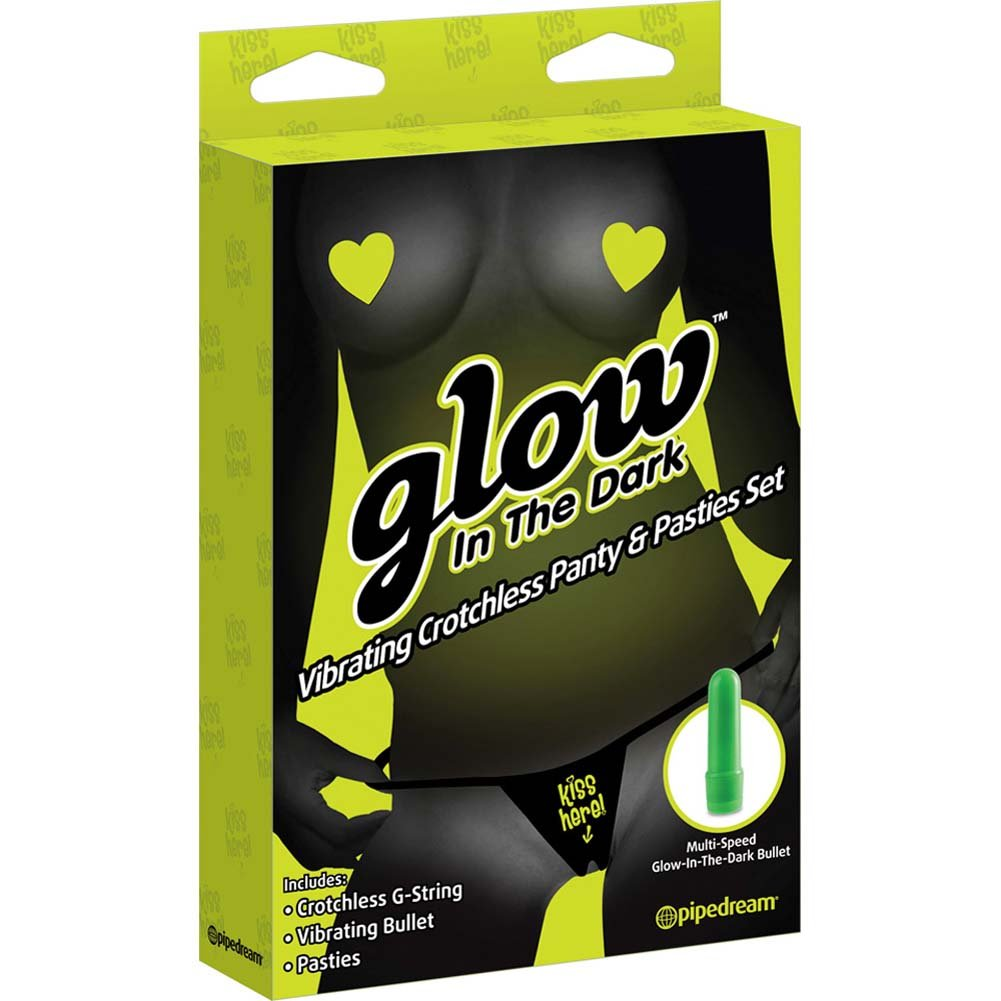 Glow in the Dark Vibrating Crotchless Panty and Pasties Set - View #3