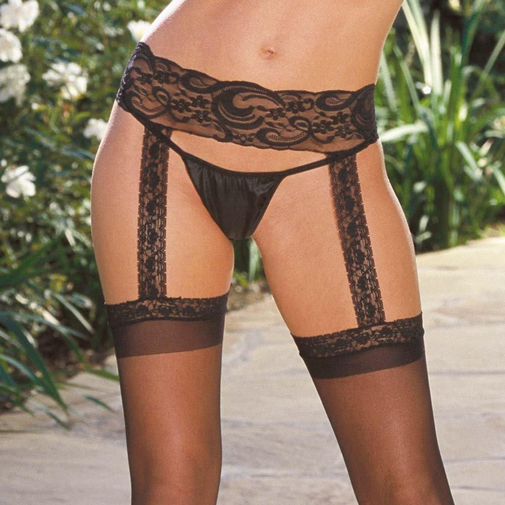 Verona Sheer Garter Belt Pantyhose Black. - View #3