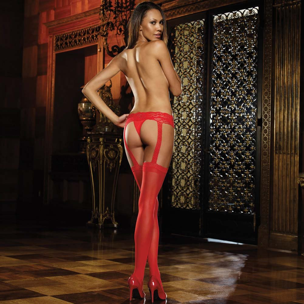 Verona Sheer Garter Belt Pantyhose Red - View #2