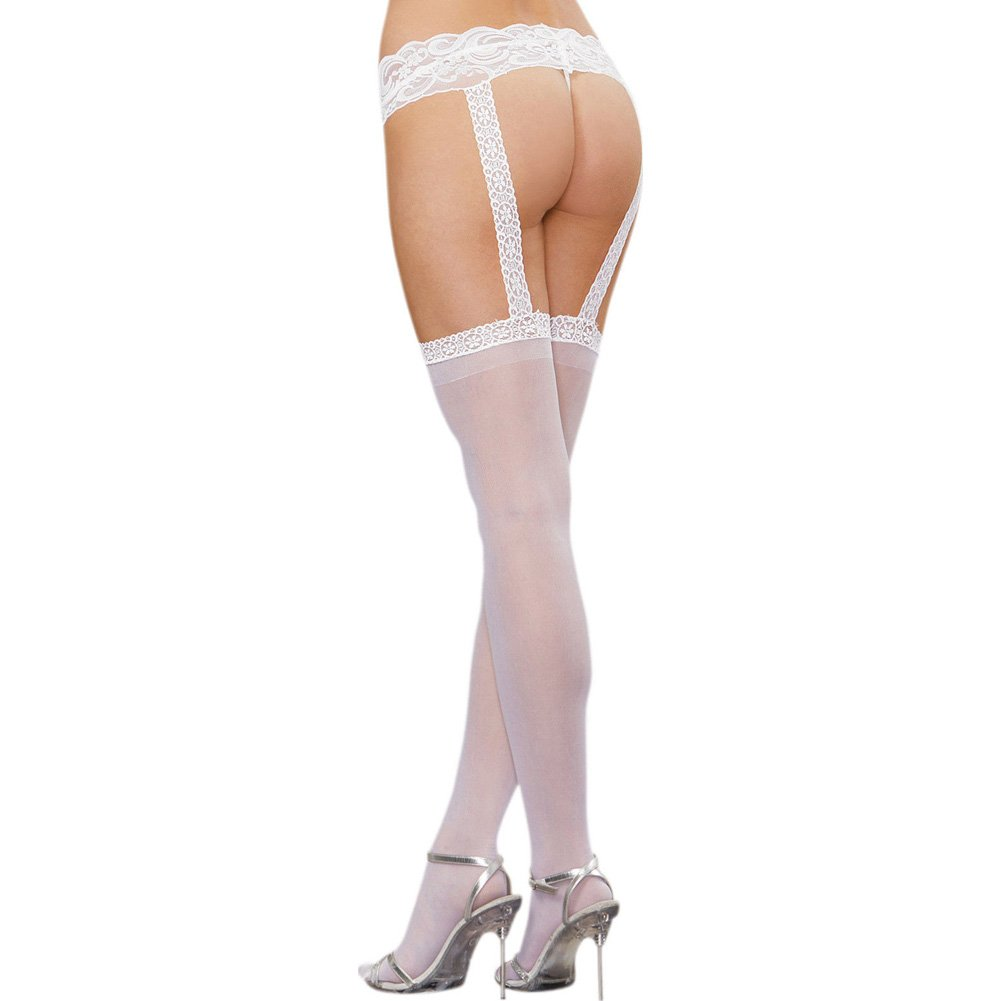 Dreamgirl Sheer Lace Garter Belt Pantyhose One Size White - View #2