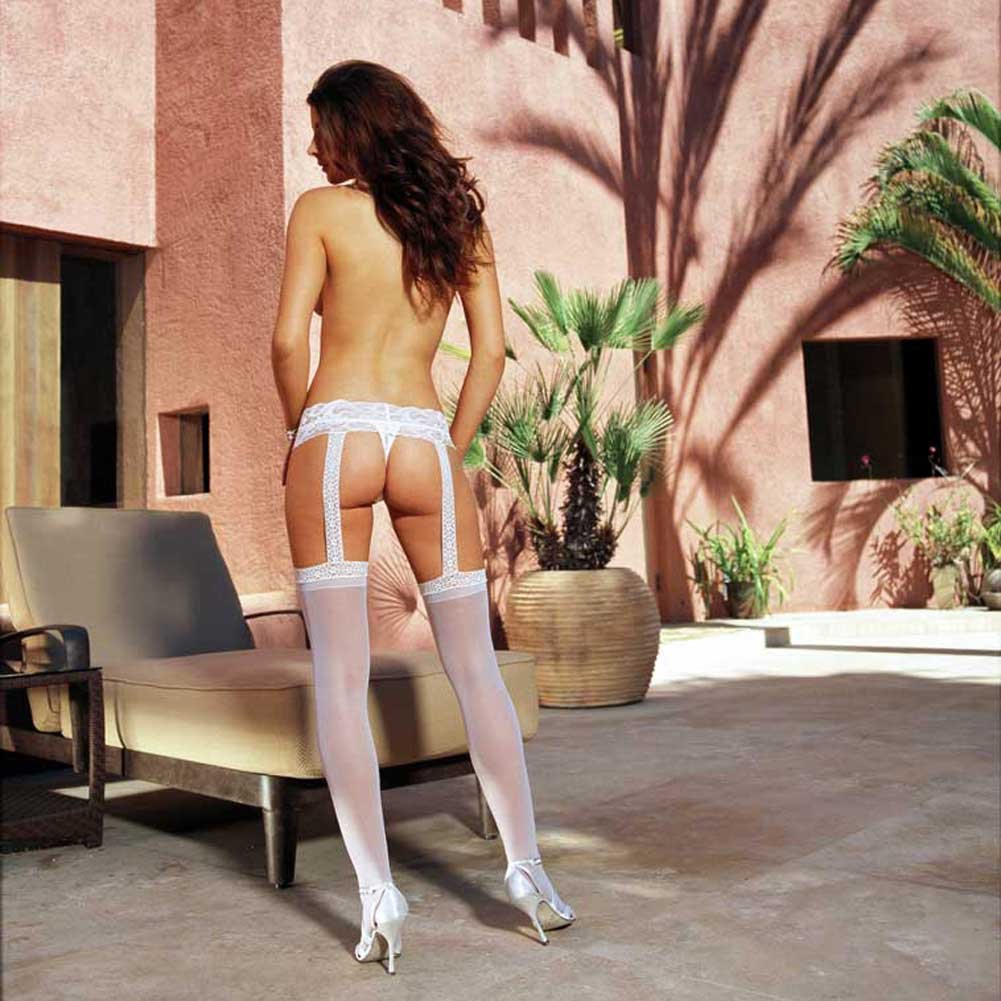Dreamgirl Sheer Lace Garter Belt Pantyhose One Size White - View #4