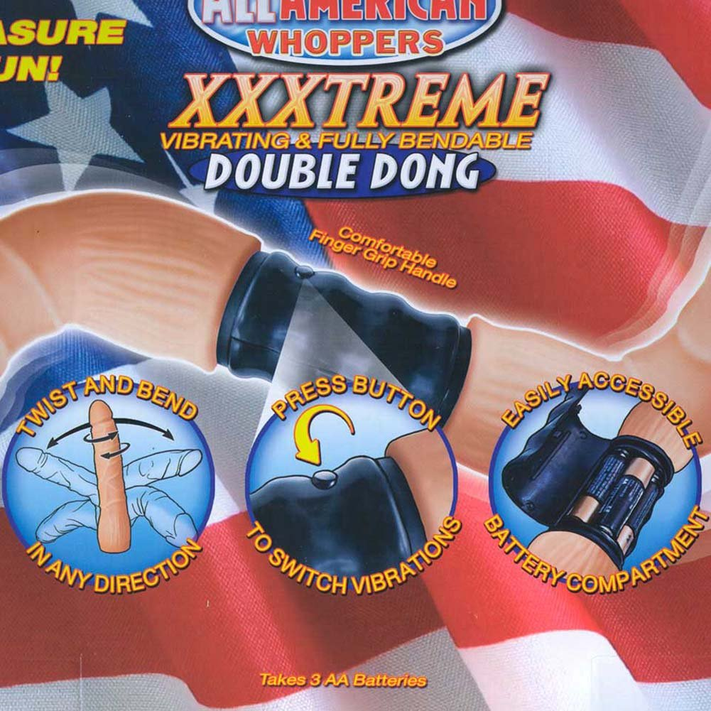 "RealSkin All American Whoppers XXXtreme Vibrating Double Dong 21"" Natural - View #1"