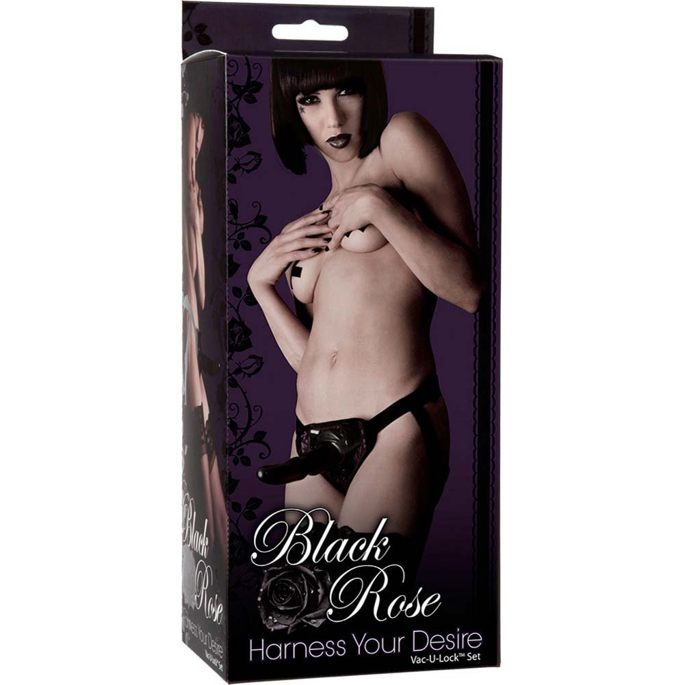 "Black Rose Vac-U-Lock Harness Your Desire Set with Dong 6.5"" Black - View #1"