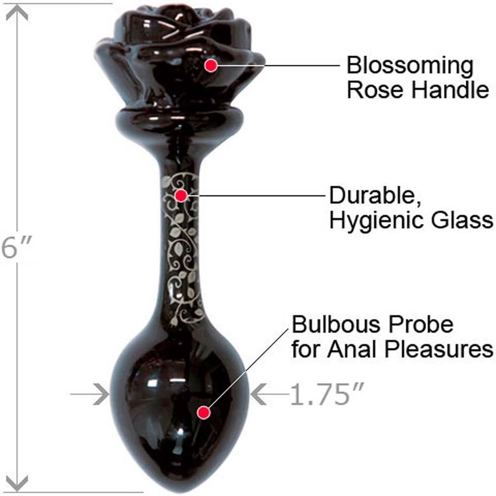 "Fashionistas Glass Rose Large Butt Plug 6"" Black - View #1"