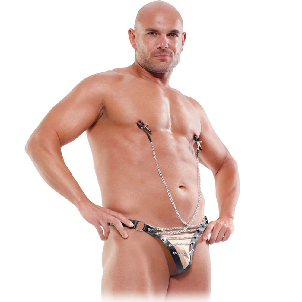 Fetish Fantasy Lingerie Male Chain Gang Thong and Nipple Clamps Set Large/XL Black - View #1
