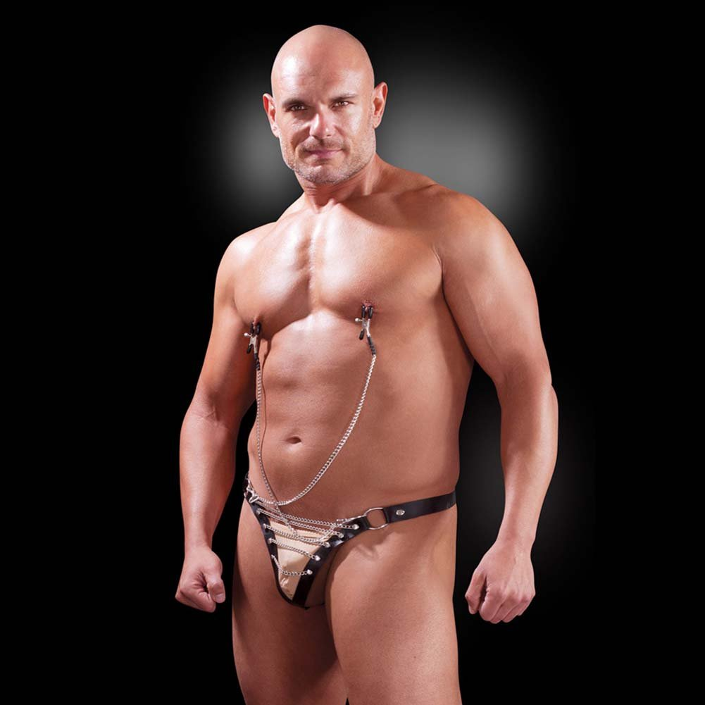 Fetish Fantasy Lingerie Male Chain Gang Thong and Nipple Clamps Set Large/XL Black - View #3