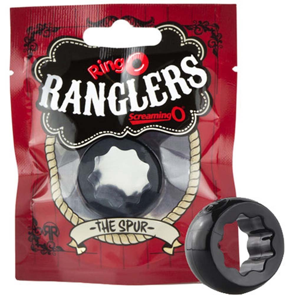 Screaming O Ring O Ranglers Spur Silicone Cockring Black - View #4