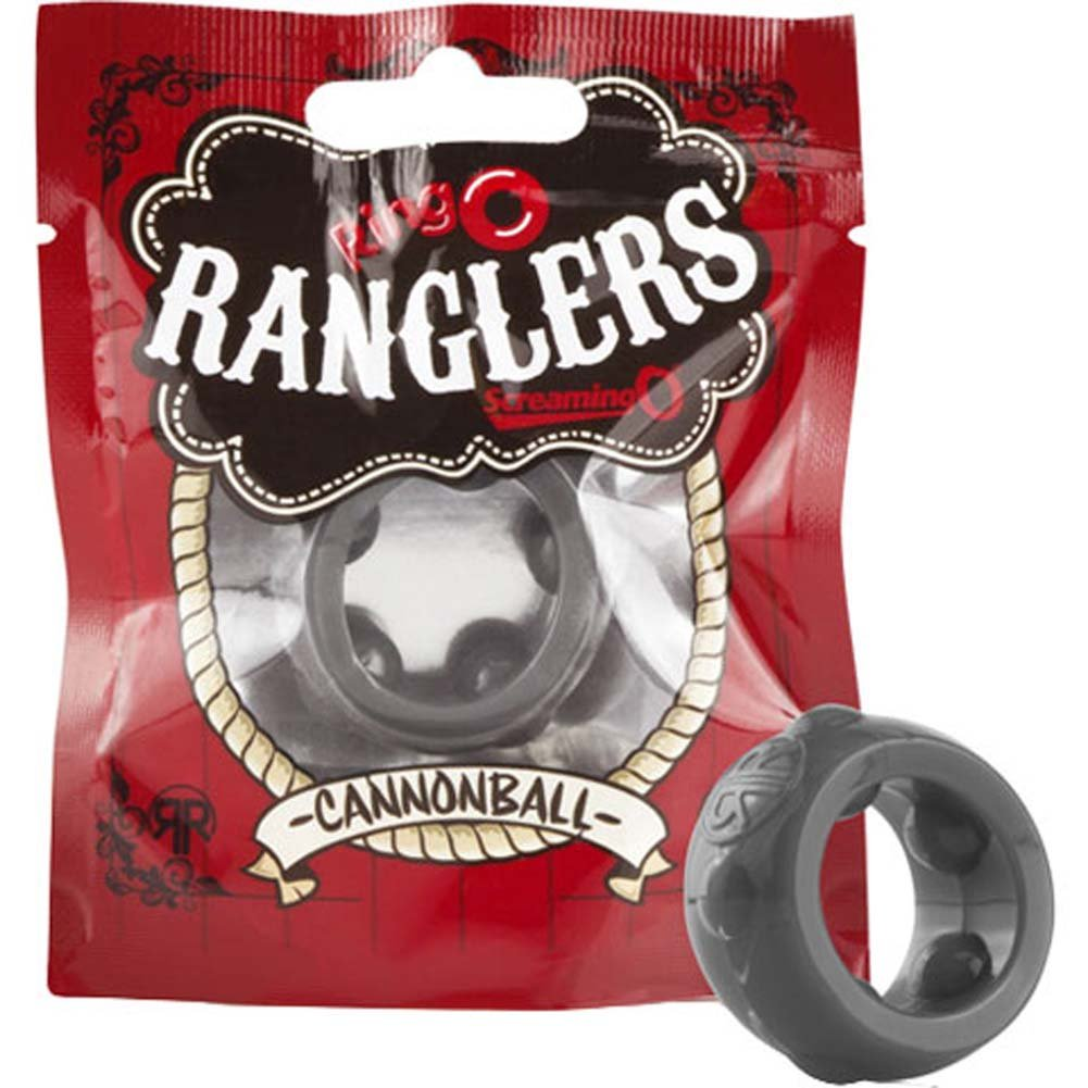 Screaming O RingO Ranglers Cannonball Silicone Cockring Gray - View #3