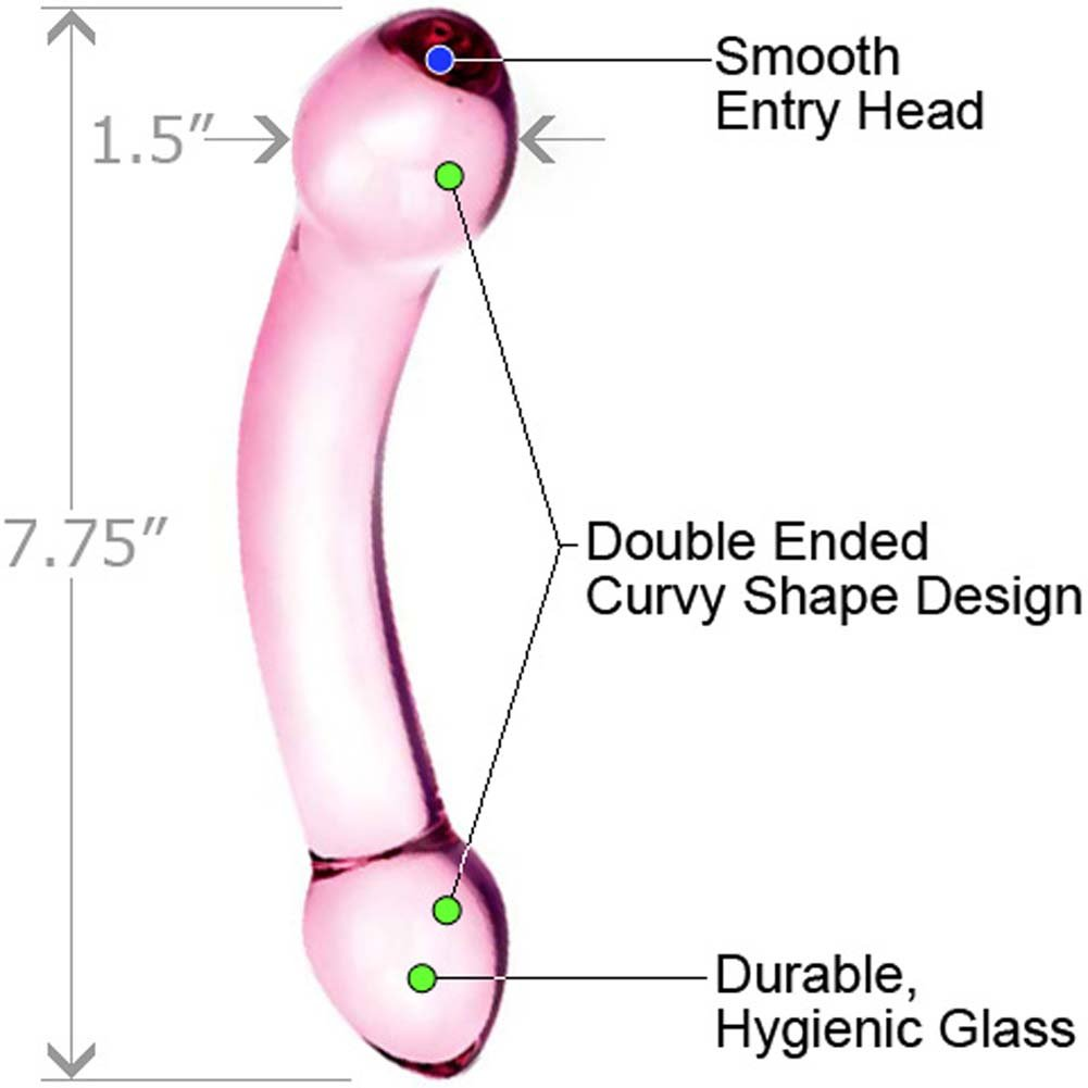 "Glas Double Trouble Dual Ended Glass Dildo 7.75"" Purple - View #1"