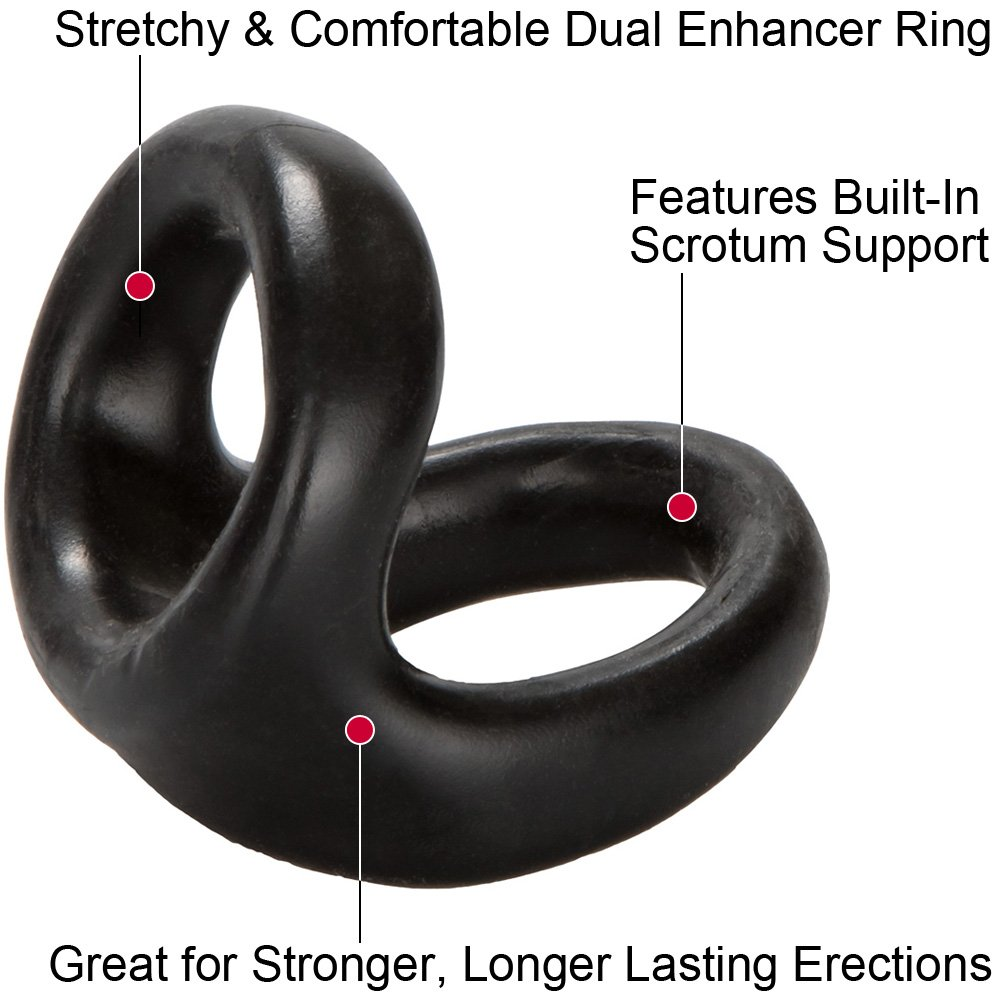 Rocks-Off 8 Ball Silicone Cockring Black - View #1