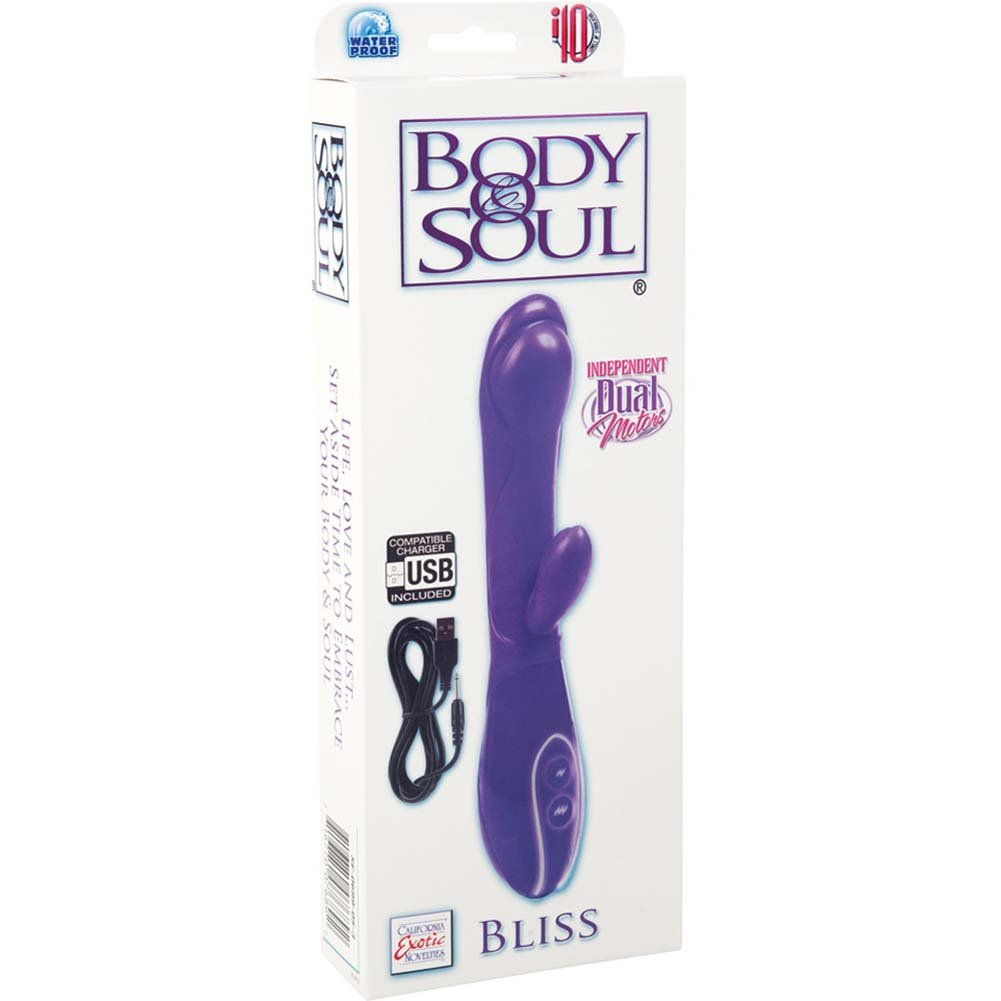 "Body and Soul Bliss Rabbit Style USB Rechargeable Vibe 8"" Purple - View #1"