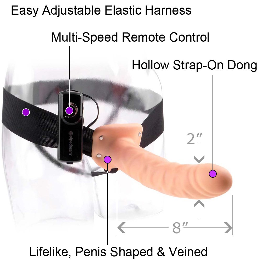 "Fetish Fantasy Series 8"" Vibrating Hollow Strap-On Dong Natural - View #1"