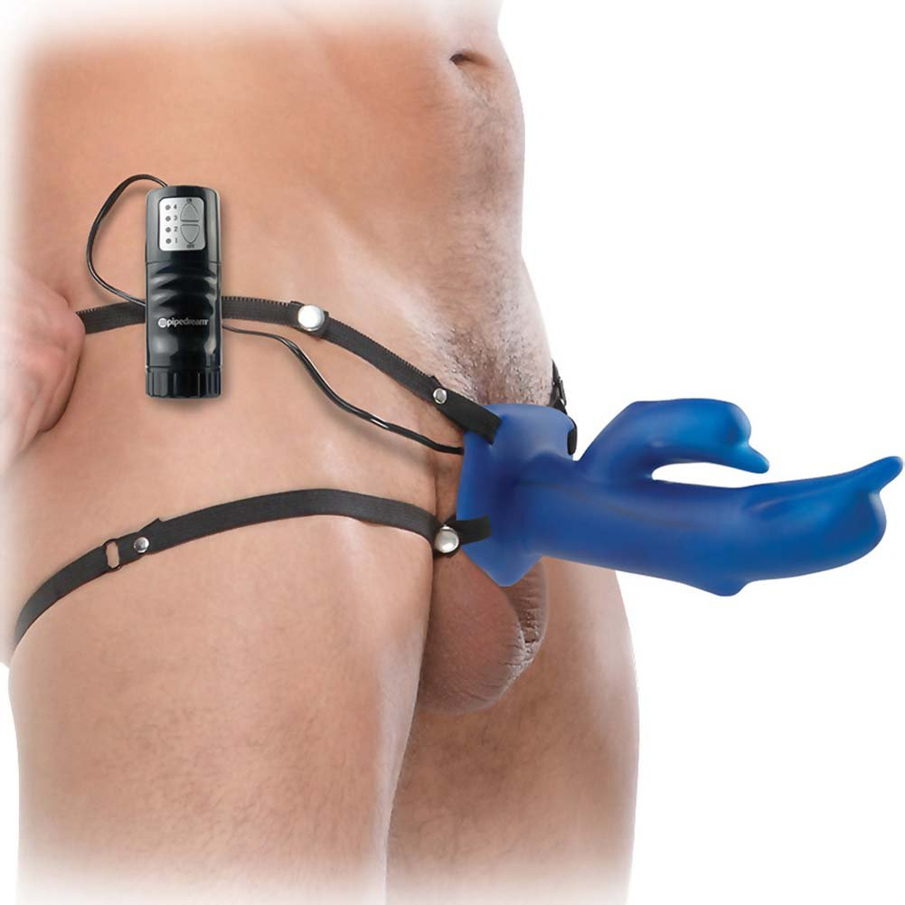 "Fetish Fantasy Vibrating Diving Dolphin Hollow Strap-On Dong 7.5"" Blue - View #2"