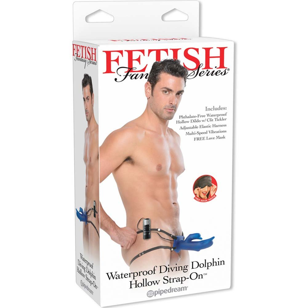 "Fetish Fantasy Vibrating Diving Dolphin Hollow Strap-On Dong 7.5"" Blue - View #4"